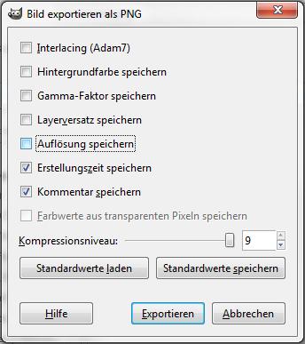 Gimp-Exportdialog