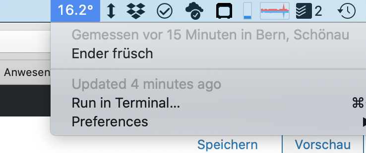 Screenshot der Menubar