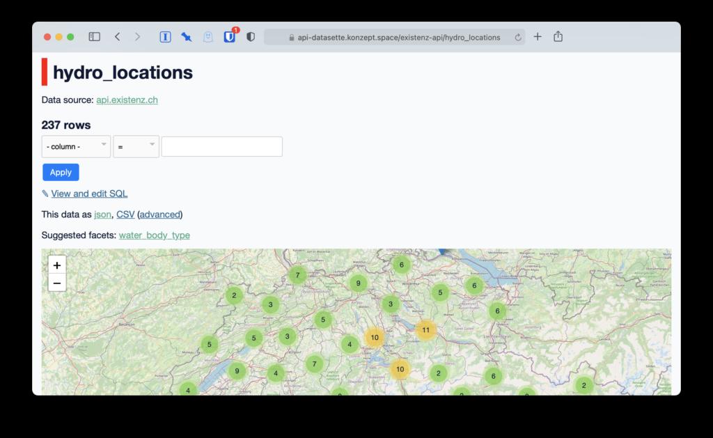 Screenshot api-datasette für hydro_locations